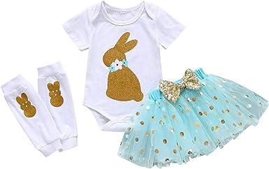 Overall for Baby Girls Newborn Baby Girl Short Sleeve White T-Shirt Top Rainbow Suspender Skirt Set
