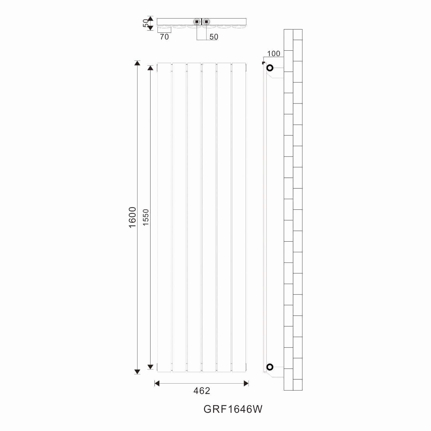 Design Flach Heizk/örper 1800x539mm Antrazit Paneelheizk/örper Vertikal Mittelanschluss Doppellagig