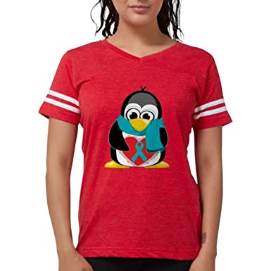 0a57914a306f5 Amazon.com  CafePress - Teal Ribbon Scarf Penguin T-Shirt - Womens ...