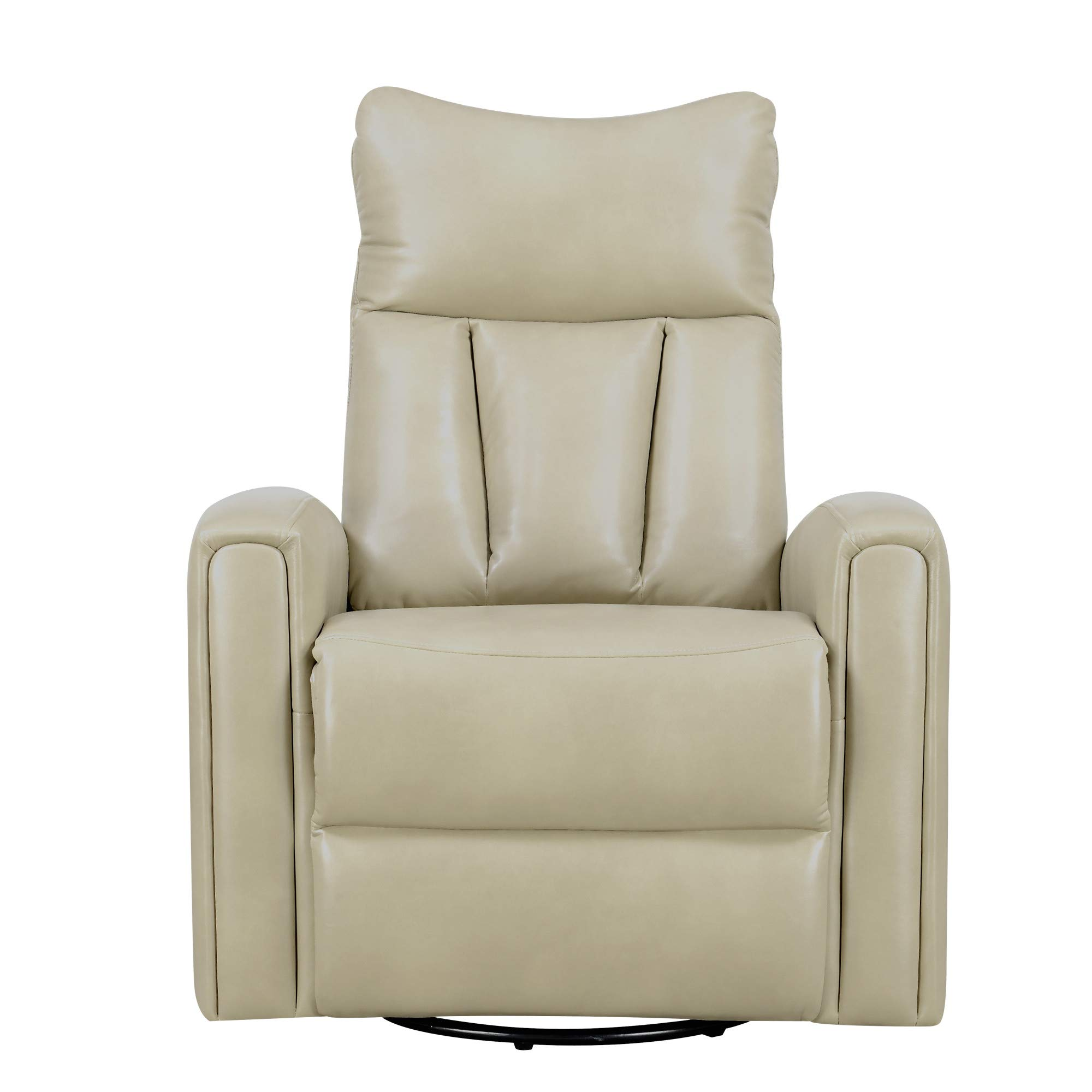 Anders Swivel Reclining Glider in Beige with Faux Leather Upholstery And Swivel Recliner, by Artum Hill