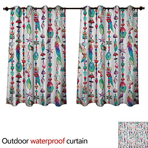 (Feather Outdoor Curtains for Patio Sheer Marine Accessory Chains Pendants Mineral Stones Shells Beads Watercolor Style Art W55 x L72(140cm x 183cm))