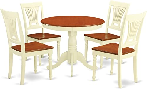 ANPL5-WHI-W 5 Pc Kitchen Table set-small Kitchen Table plus 4 Kitchen Dining Chairs