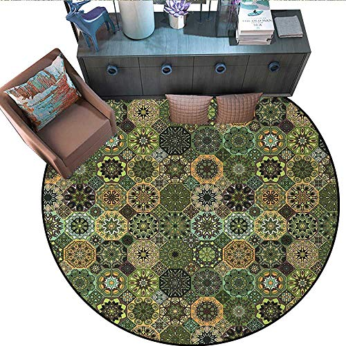 Mandala Round Rug Kid Carpet Ethnic Oriental Elements with Floral Design Retro Octagons and Rhombuses Pattern Circle Rugs for Living Room (63