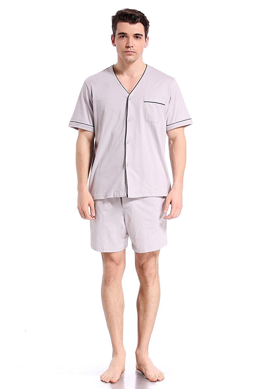Like2sea Summer Cotton Pajamas for Men, Short V-Neck Button Down Sleepwear Set, Gray, M