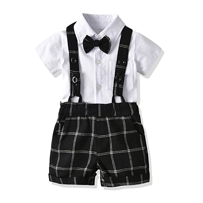 155fa81c4660 FERENYI US Baby Boys Bowtie Gentleman Romper Jumpsuit Overalls Rompers (0-6  Months,