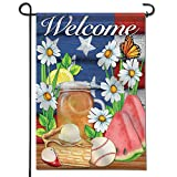Anley |Double Sided| Premium Garden Flag, American Summer Welcome Decorative Garden Flags – Weather Resistant & Double Stitched – 18 x 12.5 Inch