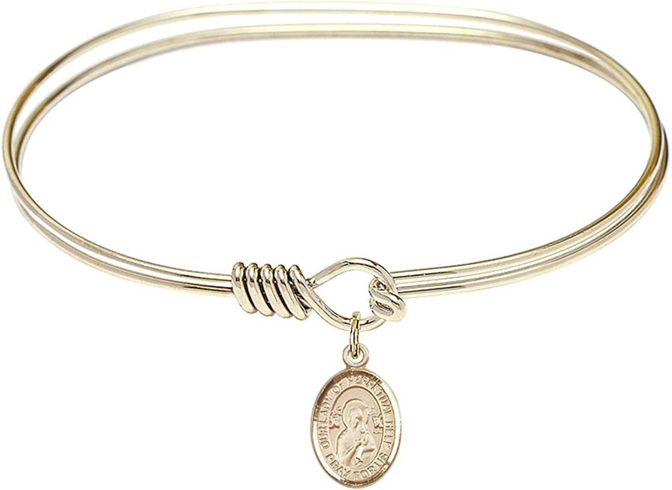 Our Lady Of Assumption Charm On A 6 1//4 Inch Round Eye Hook Bangle Bracelet