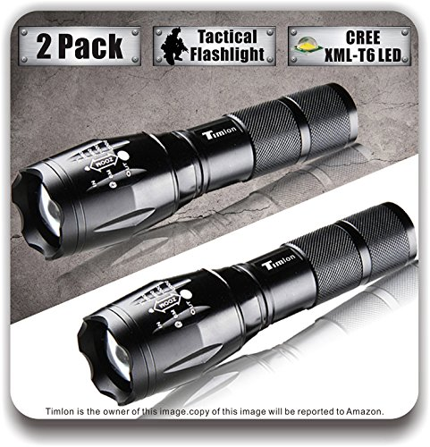Timlon® 2 Pack LED Tactical Flashlight Cree XM-L T6 2000 Lumen 5 Switch Modes Zoomable and Waterproof LED Flashlight(black)