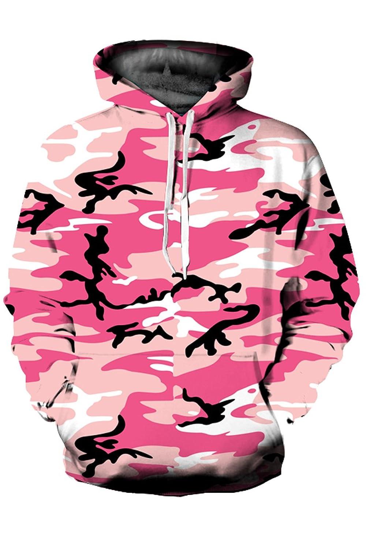 Mulisky Unisex 3D Realistic Printed Kangaroo Pocket Hooded Sweatshirt Hoodies
