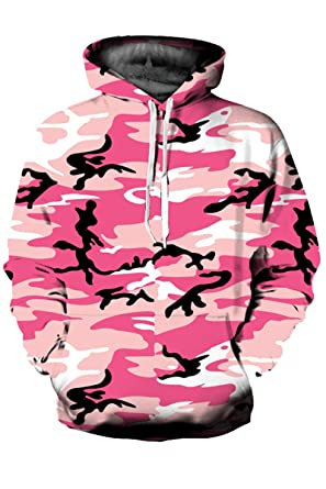e578b7a886e2 Mulisky Unisex Print Big Pockets Drawstring Hoodie Sweatshirt Pink  Camouflage S