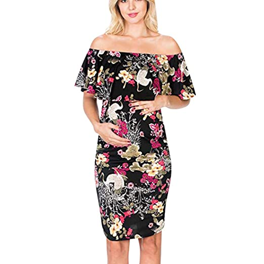 0a89db3e9e29a ZHANGVIP Fashion Womens Pregnant Casual Floral Printed Dress Loose Maternity  Clothes (S, Black)