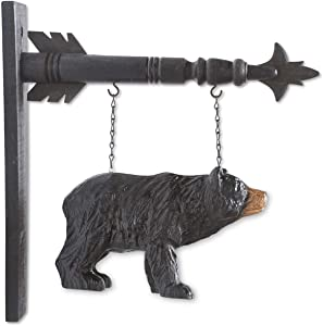 "K&K Interiors 13946A 11.5 Inch Black Resin Bear Arrow Replacement, 7.5"" H x 11.5"" W x 3.5"" D"