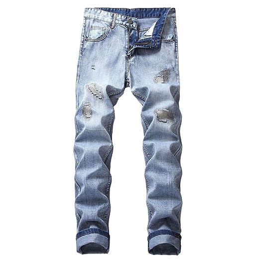 aafdb8b2 Men's Autumn Slim Fit Straight Denim Jeans Ripped Distressed Denim Trouser  Sport Pants (28,