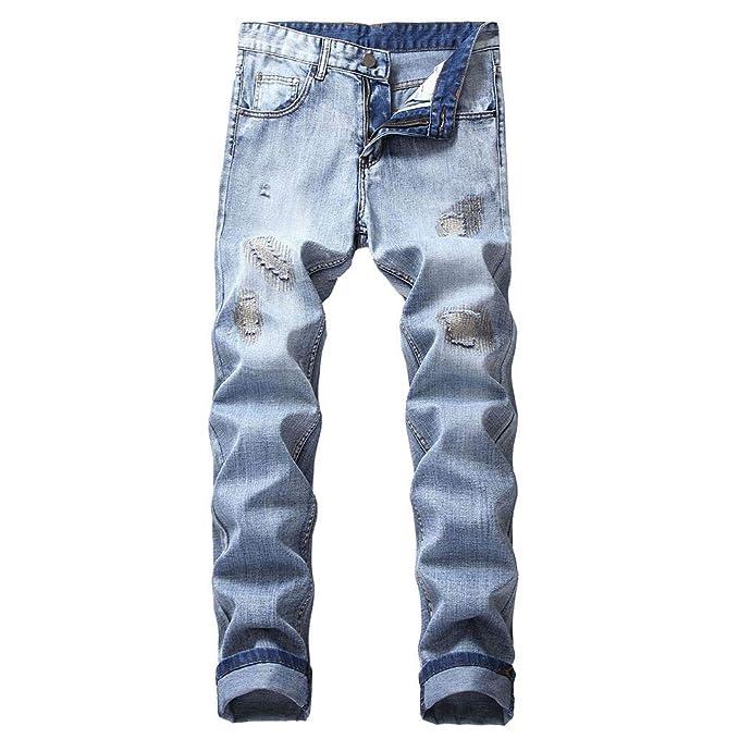 13f675febcfc Men's Autumn Slim Fit Straight Denim Jeans Ripped Distressed Denim Trouser  Sport Pants (28,