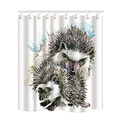 Amazon Ashasds Animal Decor Shower Curtain Watercolor Hedgehog