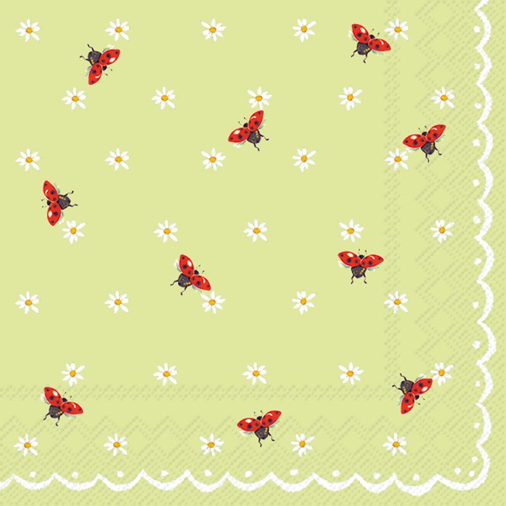 ボストン国際c767827 20カウント用紙カクテルナプキン、ミントグリーンLittle Ladybirds B0791DG12Z