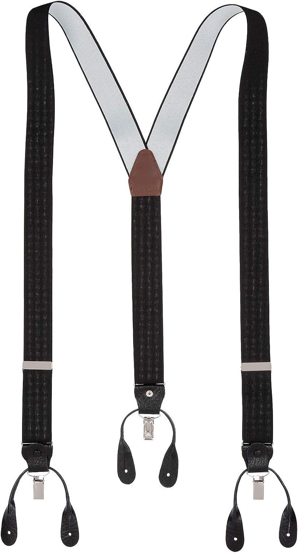 color blanco o negro con bot/ón y clip plateado para hombre tallas XL XXL extra largas disponibles Tirantes 2 en 1 para pantalones