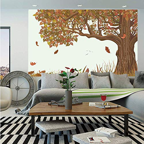 Tree of Life Wall Mural,Autumn Season Fall Shady Deciduous Oak Leaves in Park Countryside Artwork,Self-Adhesive Large Wallpaper for Home Decor 83x120 inches,Umber Redwood
