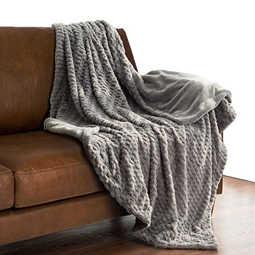 Super Soft Faux Fur Warm Fleece Throw 50'x60' Solid Grey with Fuzzy Fur Blanket by Bedsure