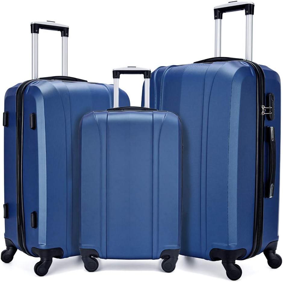 Fochier Luggage Set 3 Piece Hardshell Lightweight Spinner Suitcase