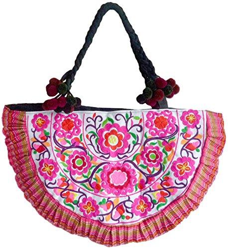 Schultertasche aus Baumwolle, handbestickt mit traditionellem Hmong Blumen und Vogelmuster Muster, bunt, 55 x 20 x 38 cm (l x b x h), Henkel: 66 cm