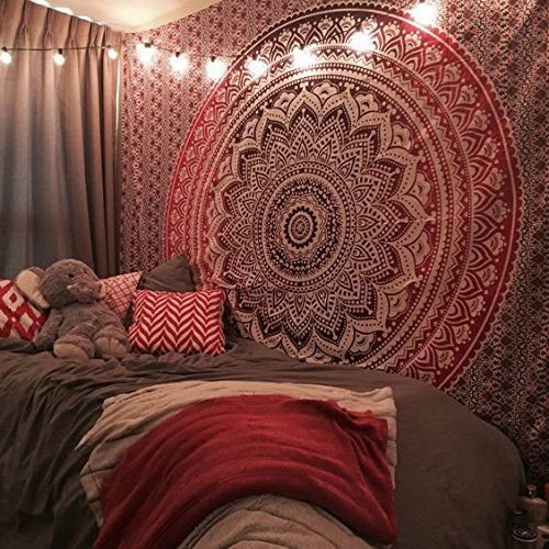 Future Handmade Pink ombre twin tapestry wall tapestry hippie tapestry wall hanging Indian psychedelic tapestry mandala beach throw boho tapestries bo…