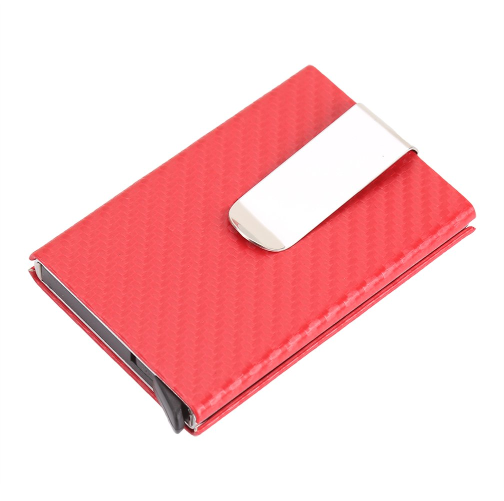 Carbon Fiber Pop Up Wallet Mens Card Case RFID Money Clip Cool Card Holder Artmi SW006-4