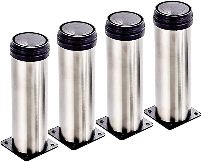 Qrity 4 unidades Patas de Metal muebles regulables armario de cocina pies redondo - Metal cromado - Altura ajustable (Total: 150-165mm)