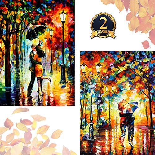 Soulmate 5D Diamond Painting Full Drill by Number Kits for Adults Kids, DIY Rhinestone Pasted Paint Set Oil Paint with Diamond Arts Craft Rainy Night Lovers (12x16inch, 2 Pack) by Yomiie