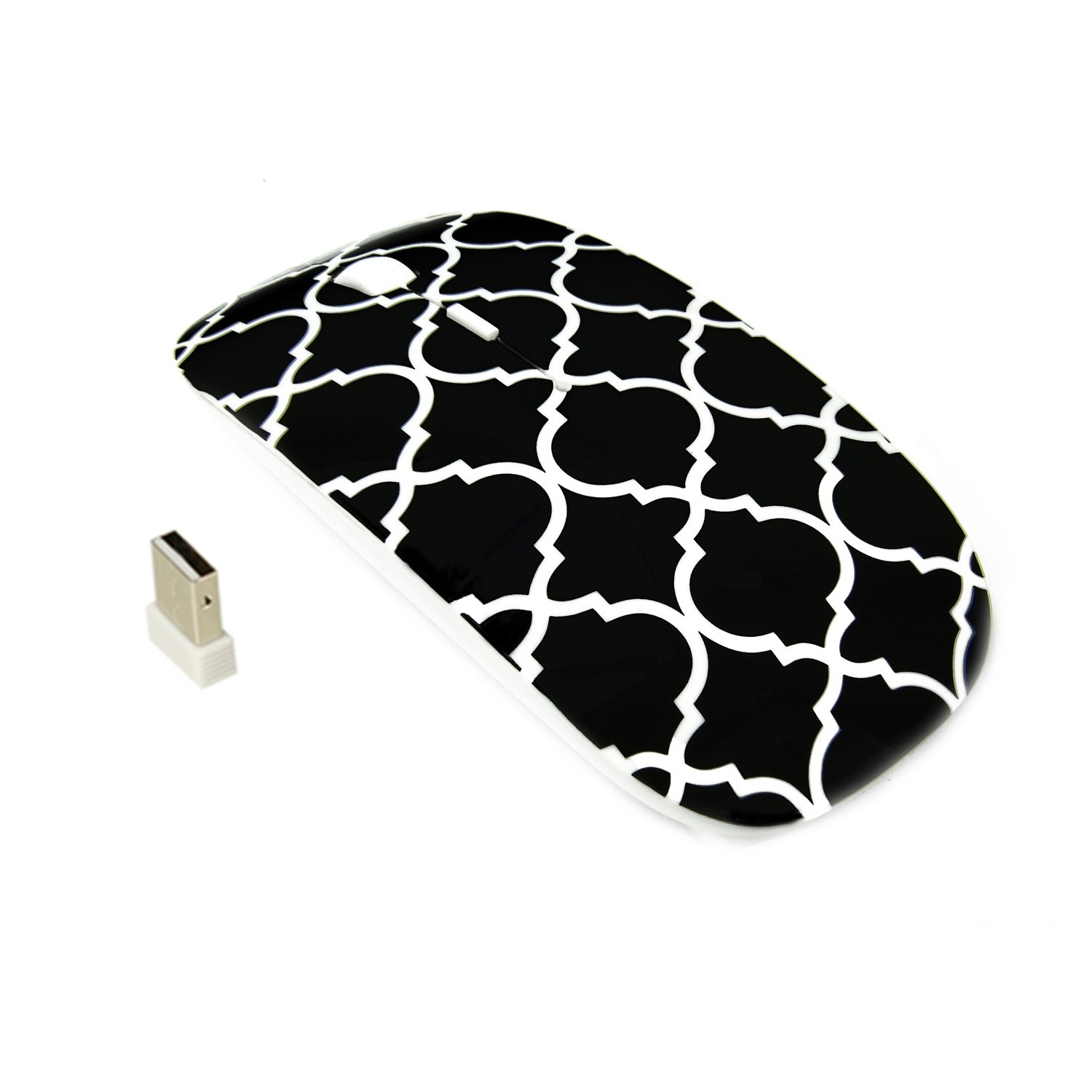 Amazon.com: TopCase Quatrefoil/Moroccan Trellis Series Black USB Optical Wireless Mouse for MacBook (pro, air) and All Laptop + TopCase Designed Chevron ...