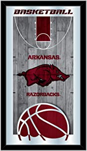 "Holland Bar Stool Co. Arkansas Razorbacks HBS Basketball Framed Hanging Glass Wall Mirror (26""x15"")"