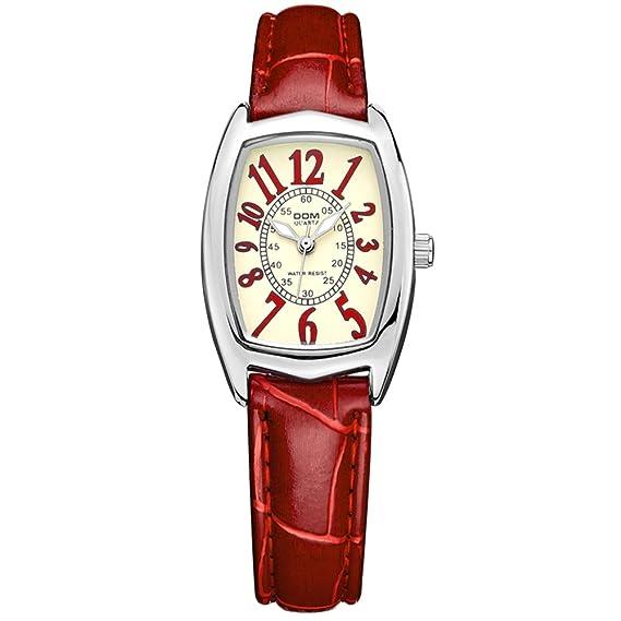 Dom marca de lujo resistente al agua Estilo Piel de cuarzo de reloj mujer relojes mujer lp-1208l-4 m: Amazon.es: Relojes