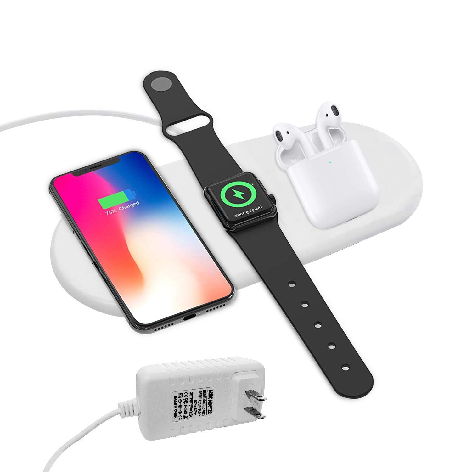 Wireless Charger Pad for New AirPods [ 3 in 1], YLEX Charging Station for Apple iWatch 4/3/2, Qi Charger for iPhone Xs Max/XR,Fast Charging for Samsung Galaxy S10/S10+ and More 5962930433 by YLEX