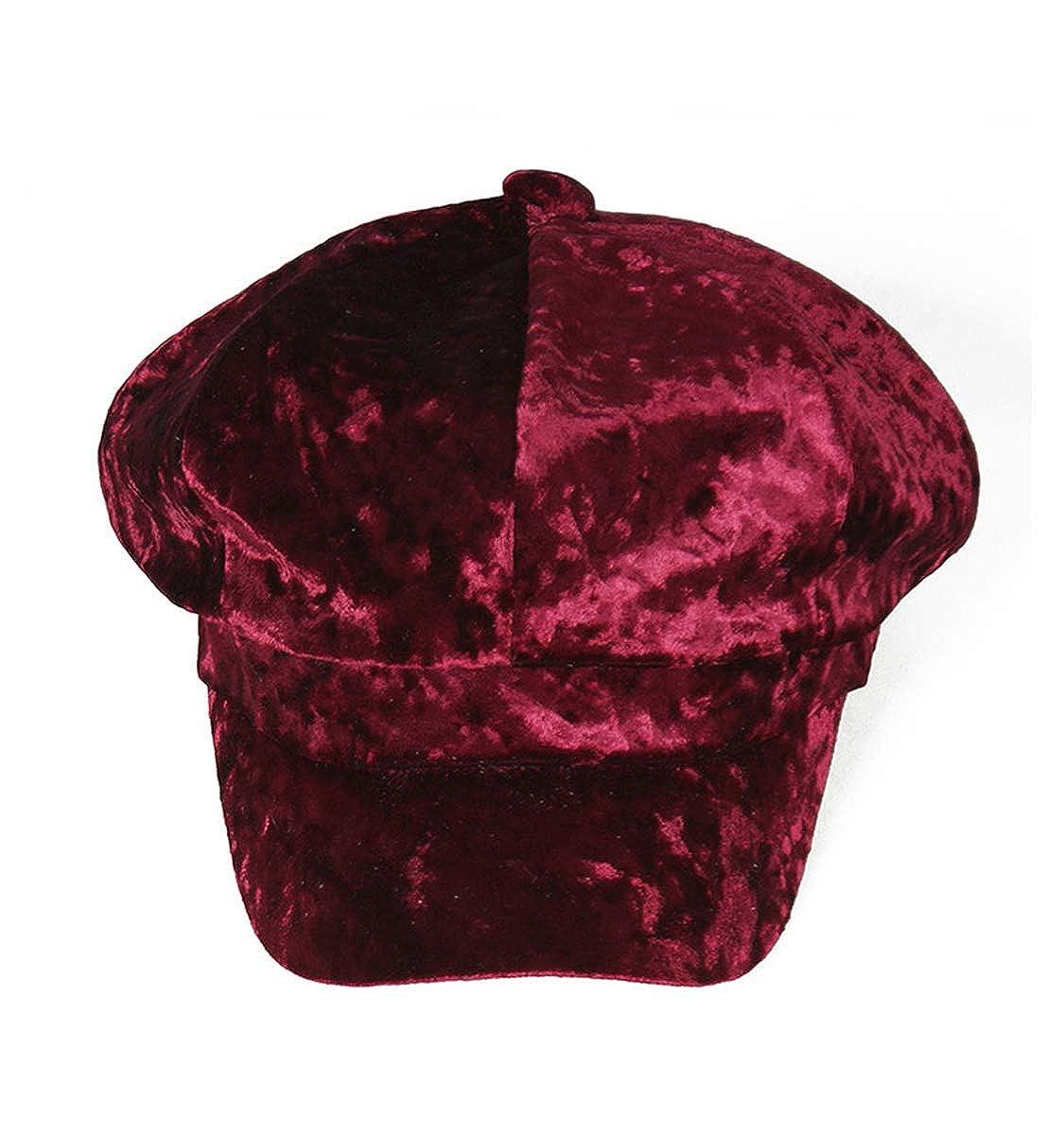 Clecibor Velvet Newsboy Cap Autumn Winter Warm Thick Octagonal Cap Women Beret