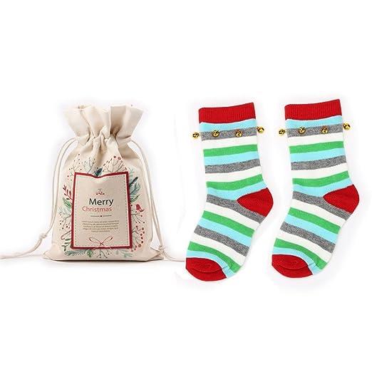 kids jingle bells christmas socks boys girls 1 redgreen stripes2 pairs