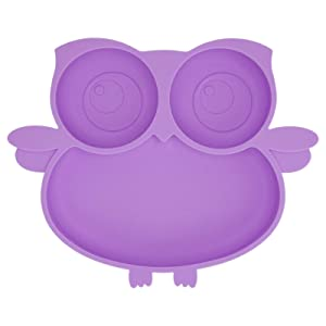 Kirecoo Owl Silicone Suction Plate - Self Feeding Training Storage Divided Plate, Baby Toddler Bowl and Dish, Fits for Most Hairchairs Trays, Microwave Dishwasher Safe (Lavender)