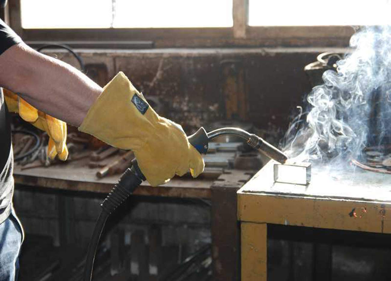 Gants de Soudage Travail Pour Haute Temp/érature Vachette Protection de Soudage 40 CM Gants en Cuir de Soudeur