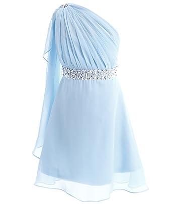 c09f657611a FAIRY COUPLE Little Girl s One Shoulder Embellished Short Chiffon Flower  Girl Dress K0140 6 Light Sky