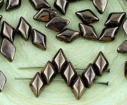 60pcs Metallic Light Bronze Luster Matubo GemDuo Rhombus Diamond Two 2 Hole Czech Glass Beads Gem Duo 8mm x 5mm ()