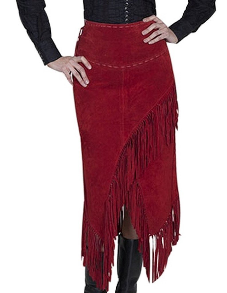 Scully Women's Suede Leather Fringe Skirt Red XX-Large
