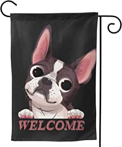 Boston Terrier Garden Flag Welcome Dog House Flag Vertical Double Sided Yard Outdoor Decor Party Gift 12.5 X 18 Inch
