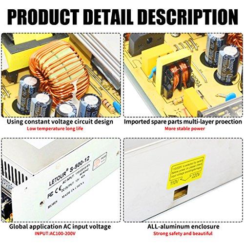 LETOUR DC 12V Power Supply 40A 500W AC 96V-240V Converter DC 12Volt 40Amp 500Watt Adapter LED Power Supply for LED Lighting,LED Strip,CCTV by LETOUR (Image #4)