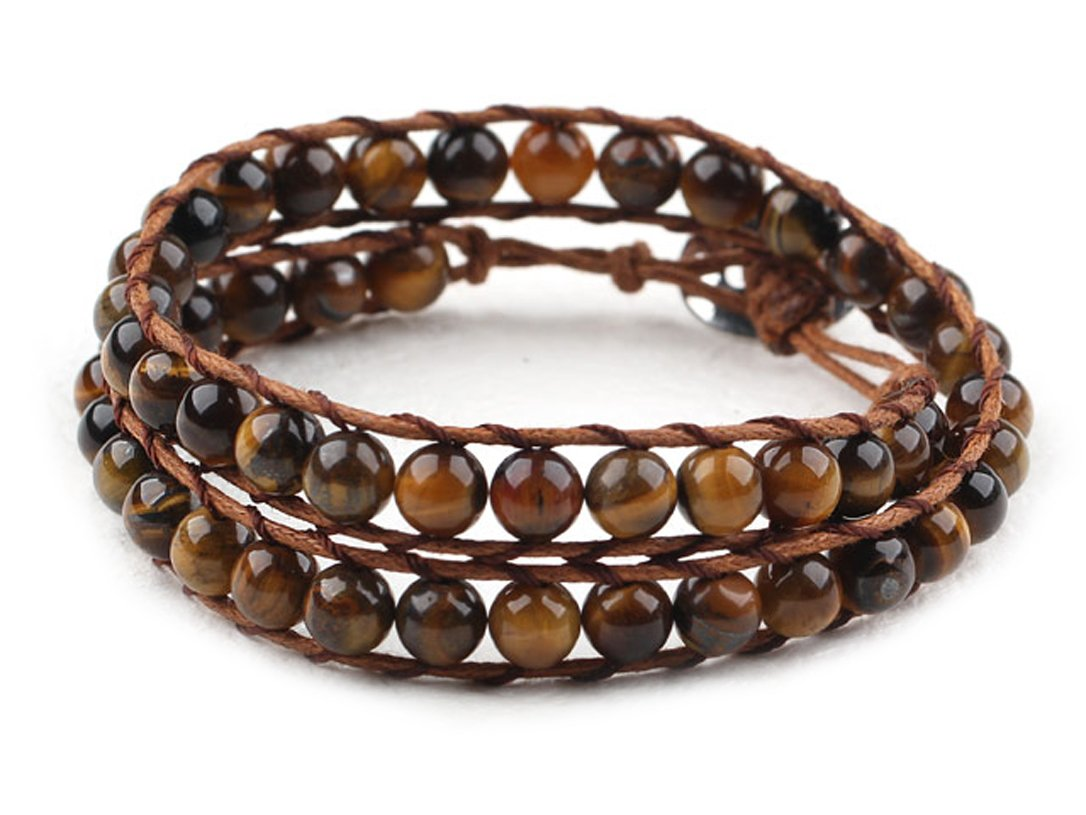 Tiger Eye Wrap Bracelet Brown Genuine Leather Hand-Knotted Multilayer 6mm Round Beads