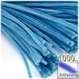 The Crafts Outlet Chenille Stems, Pipe Cleaner, 12-inch (30-cm), 1000-pc, Ocean Blue
