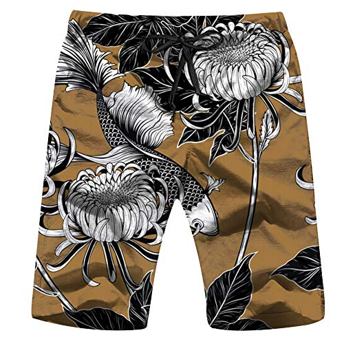 Koi Fish Chrysanthemum by Hand Flower Vintage Men'S Swim Trunks and Workout Shorts Swimsuit Or Athletic Shorts - Adults Boys L