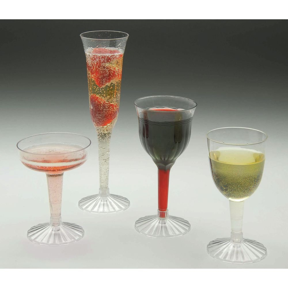 Disposable 6 oz Clear Plastic Fluted Goblet Glass - 2 7/8''Dia x 5 3/4''H by EMI-YOSHI INC