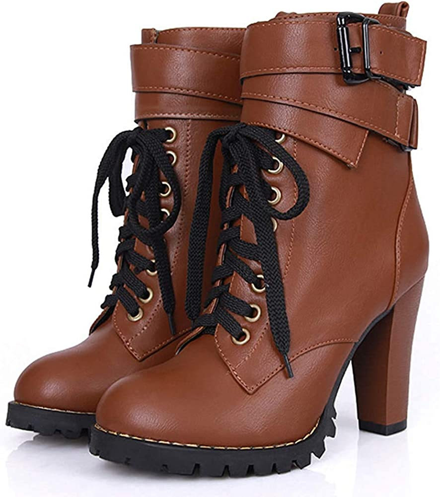 Womens Stylish Buckled Strap Chunky High Heel Martin Boots Lace Up Round Toe Ankle Booties