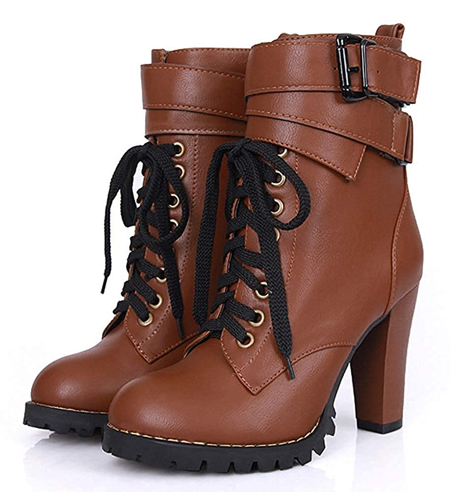 313bb69d921 Unm Women's Stylish Buckled Strap Chunky High Heel Martin Boots Lace ...