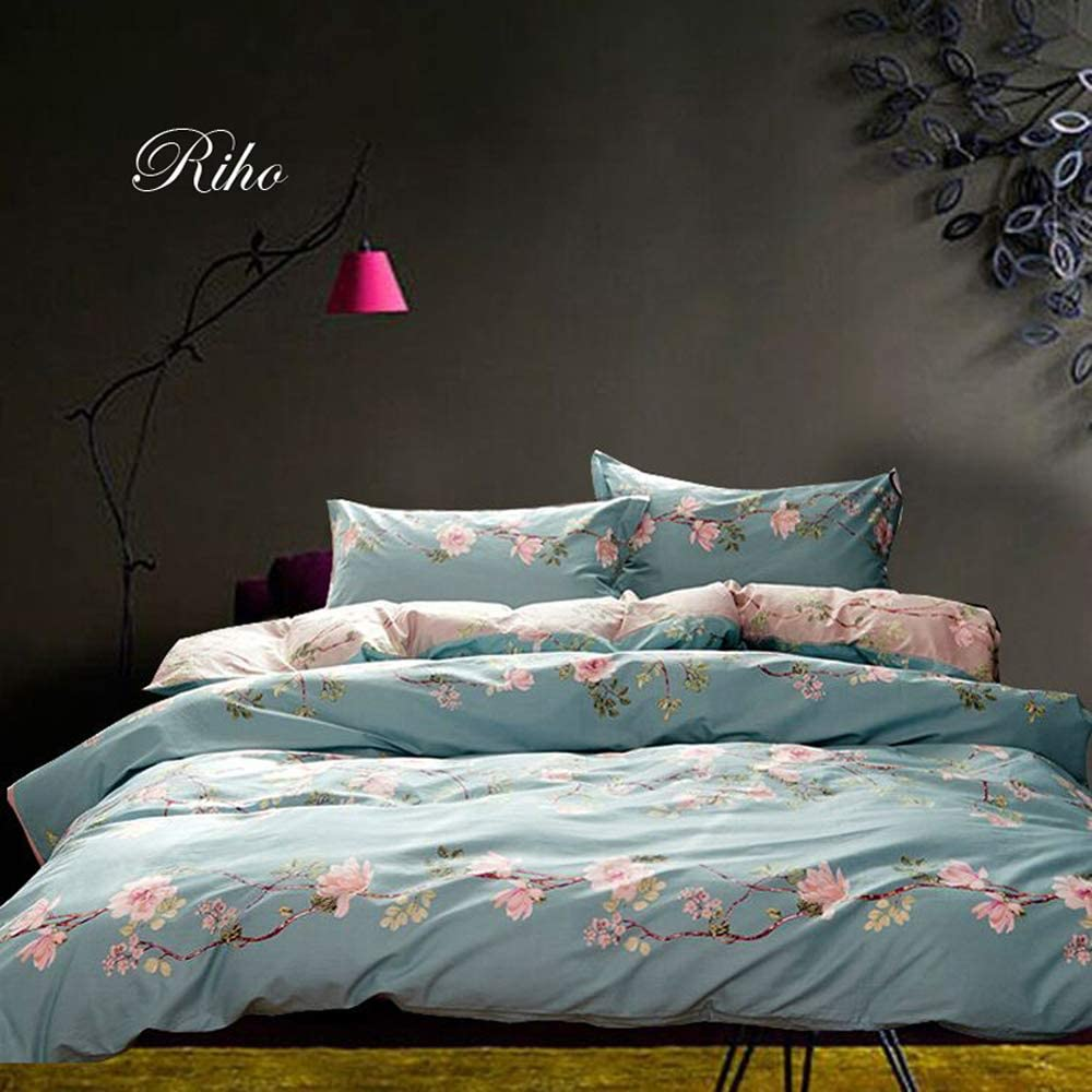 Riho 100% Cotton Twim Full Queen Size Rural Flowers Floral Rose Elegant Comfortable Bedding Sets Bedding Collections Bedding Sheets,4-Pieces(1 Duvet Cover+1 Sheets+2Pillowcases) (Queen, Lefu)