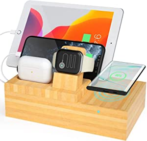 Goton Bamboo Wireless Charger Station with 4 USB Ports, Wooden Charging Stations Wood Organizer Stand for Multiple Devices Compatible iPhone/Apple Watch/Airpods/Tablet and Qi-Enabled Smartphone